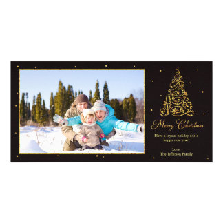 Ornate Christmas Tree Glitter Card
