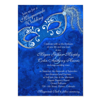 Ornate Cobalt Blue Silver Masquerade Ball Wedding Card