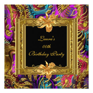 Ornate Colored Black Gold Damask Birthday Party Custom Announcements