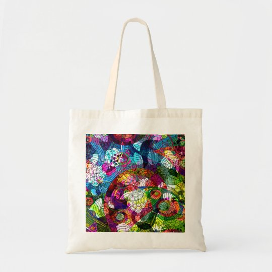 Ornate & Colorful Retro Flower Bag