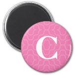 Ornate Contemporary Monogram - Letter C 2 Inch Round Magnet
