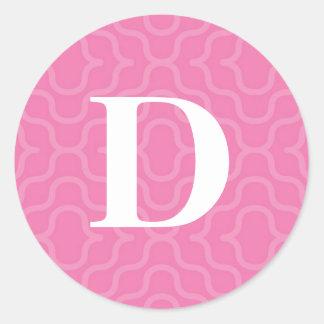 Ornate Contemporary Monogram - Letter D Classic Round Sticker