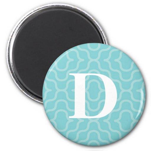 Ornate Contemporary Monogram - Letter D Fridge Magnets