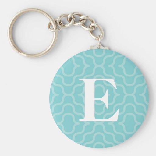 Ornate Contemporary Monogram - Letter E Basic Round Button Keychain