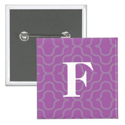Ornate Contemporary Monogram - Letter F Pinback Button