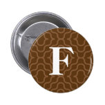 Ornate Contemporary Monogram - Letter F Pinback Buttons