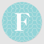 Ornate Contemporary Monogram - Letter F Round Stickers