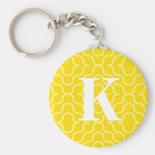 Ornate Contemporary Monogram - Letter K Basic Round Button Keychain