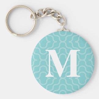 Ornate Contemporary Monogram - Letter M Basic Round Button Keychain