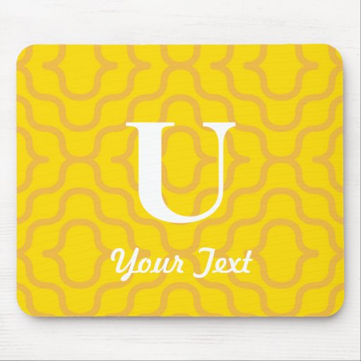Ornate Contemporary Monogram - Letter U Mouse Pad