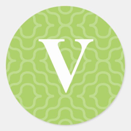 Ornate Contemporary Monogram - Letter V Classic Round Sticker