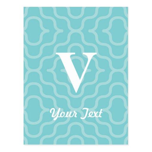 Ornate Contemporary Monogram - Letter V Postcard