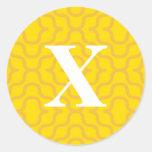 Ornate Contemporary Monogram - Letter X Round Sticker