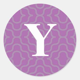 Ornate Contemporary Monogram - Letter Y Round Sticker