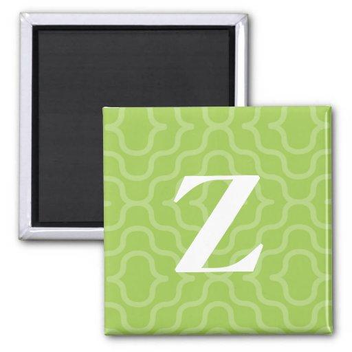 Ornate Contemporary Monogram - Letter Z 2 Inch Square Magnet