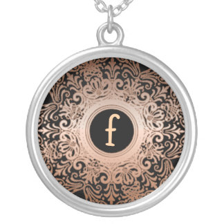 Ornate Copper & Black Custom Initial Necklace