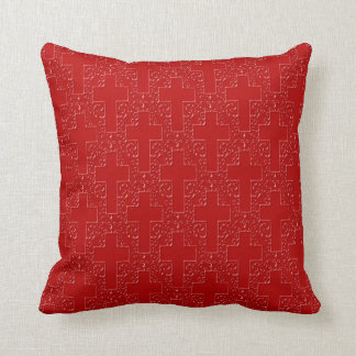 Ornate Cross-16-Red Throw Pillow