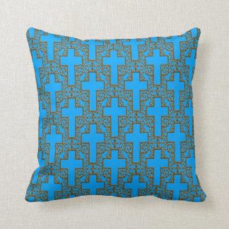 Ornate Cross-17-Blue-Gold Throw Pillow