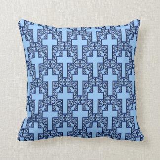 Ornate Cross-18-Metallic Blue Throw Pillow