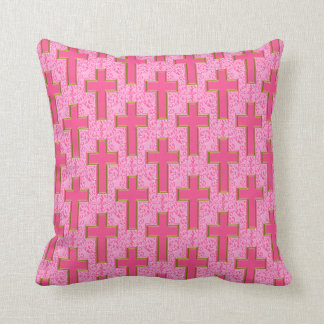 Ornate Cross-22 Pink and Gold Throw Pillow