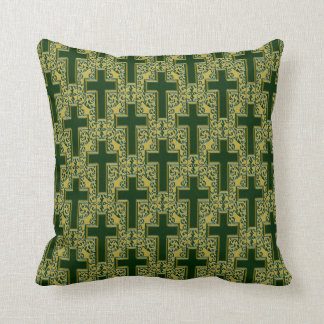 Ornate Cross-25 Green and Gold Throw Pillow