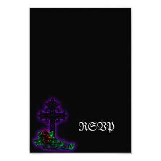 Ornate Cross and Lily Gothic Wedding Card