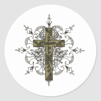 Ornate Cross Classic Round Sticker