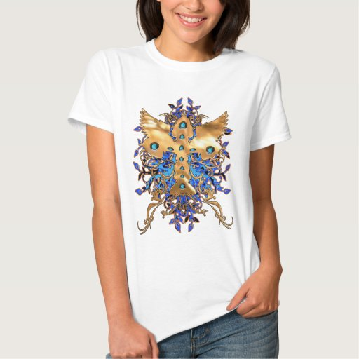 ORNATE CROSS WITH BLUE BACKGROUND TEE SHIRTS
