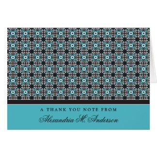 Ornate Custom Thank You Card (aqua/black)