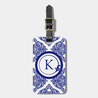 Ornate Damask Blue and White Travel Bag Tag