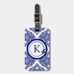 Ornate Damask Blue and White Travel Bag Tag