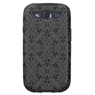 Ornate damask decorative black gray Galaxy case Samsung Galaxy SIII Cover