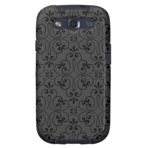 Ornate damask decorative black gray Galaxy case