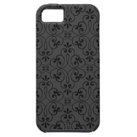 Ornate damask decorative black gray iPhone 5 case