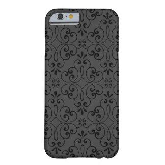 Ornate damask decorative black gray iPhone 6 case