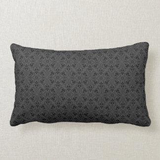Ornate damask decorative black gray stylish lumbar pillow