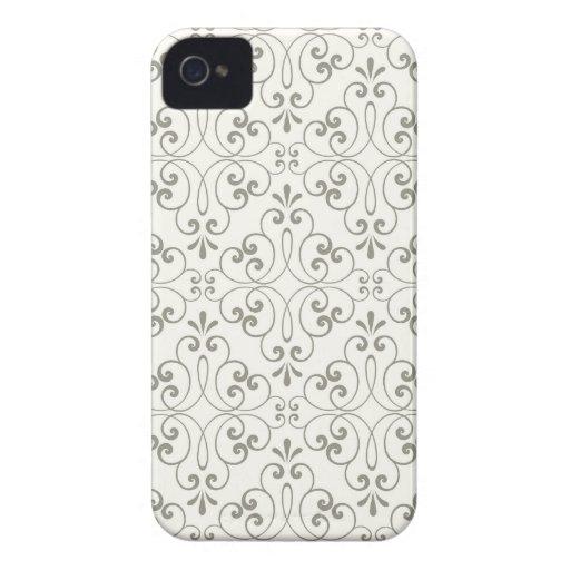 Ornate damask decorative gray BlackBerry case