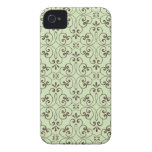 Ornate damask decorative green brown iPhone 4 case