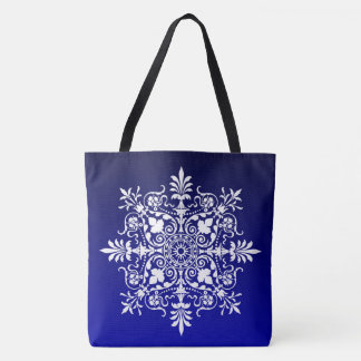 Ornate Damask Floral On Stylish Blue Tote Bag