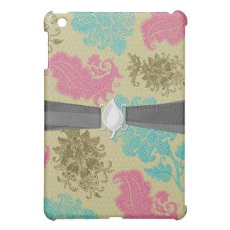 ornate damask lice aqua pink tan iPad mini cover