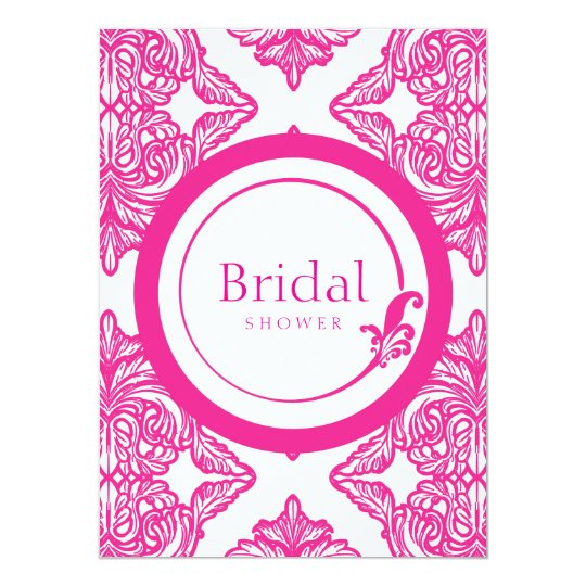 Ornate Damask Pink and White Card