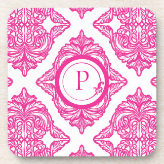 Ornate Damask Pink and White Drink Coaster