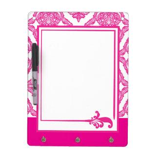 Ornate Damask Pink and White Dry-Erase Whiteboard