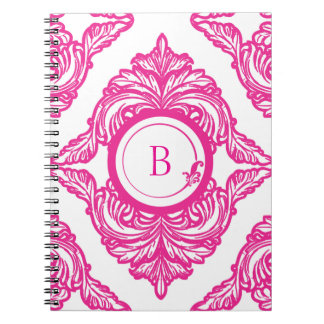 Ornate Damask Pink and White Notebook
