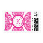 Ornate Damask Pink and White Postage Stamp