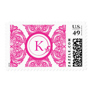 Ornate Damask Pink and White Stamps