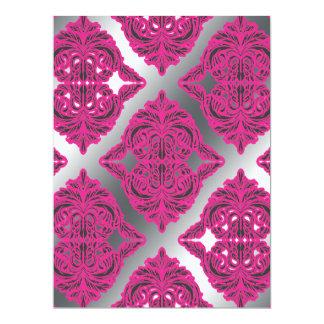 Ornate Damask Pink, Black, Silver Card