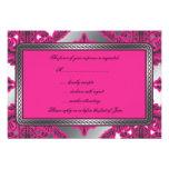 Ornate Damask Pink, Black, Silver Custom Invites
