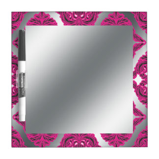 Ornate Damask Pink, Black, Silver Dry-Erase Whiteboard