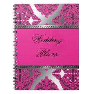 Ornate Damask Pink, Black, Silver Note Book